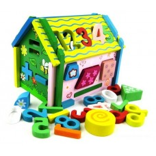 Removable Wooden Dolls House with Number Puzzle and Shape Sorter